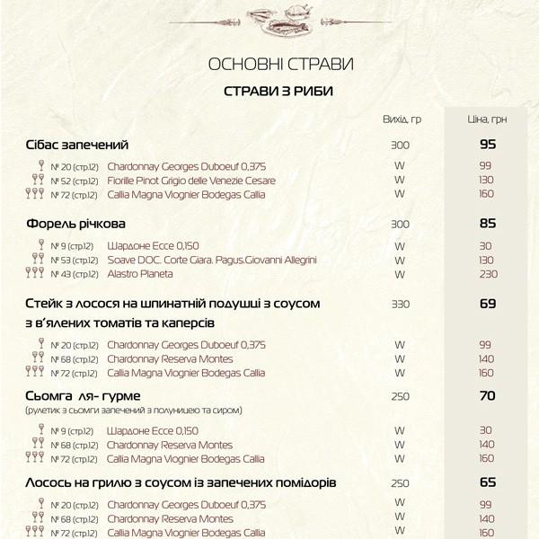 Меню ресторану «Манускрипт на Руській» #7